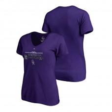 Women - Colorado Rockies Locker Room Defend Purple V-Neck T-Shirt