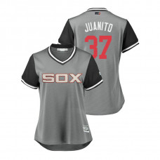 Women - Chicago White Sox Gray #37 Juan Minaya Juanito Jersey