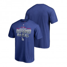 YOUTH Los Angeles Dodgers Locker Room Defend Royal 2018 NL West Division Champions Majestic T-Shirt