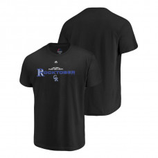 YOUTH Colorado Rockies Authentic Collection Black Majestic T-Shirt