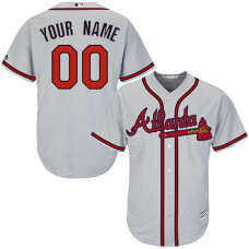 Custom Atlanta Braves Replica Grey Road Cool Base Jersey