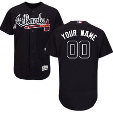 Custom Atlanta Braves Authentic Blue Alternate Road Cool Base Jersey