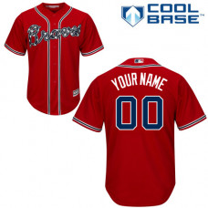 Custom Atlanta Braves Authentic Red Alternate Cool Base Jersey