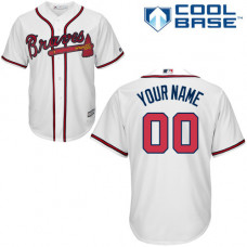 Youth Custom Atlanta Braves Authentic White Home Cool Base Jersey