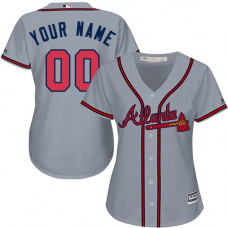 Women's Custom Atlanta Braves Authentic Grey Road Cool Base Jersey