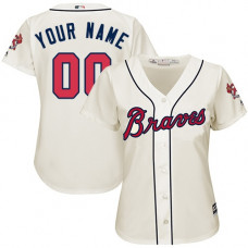 Women's Custom Atlanta Braves Replica Cream Alternate 2 Cool Base Jersey