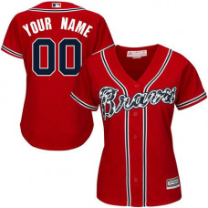 Women's Custom Atlanta Braves Authentic Red Alternate Cool Base Jersey