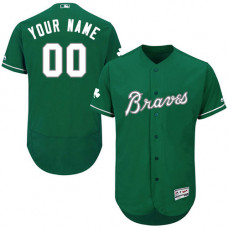 Custom Atlanta Braves Green Celtic Flexbase Authentic Collection Jersey