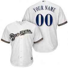 Custom Milwaukee Brewers Replica White Home Cool Base Jersey