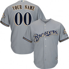 Custom Milwaukee Brewers Replica Grey Road Cool Base Jersey