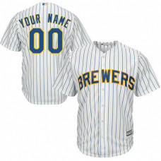 Youth Custom Milwaukee Brewers Replica White Alternate Cool Base Jersey