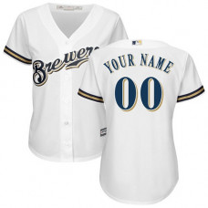 Women's Custom Milwaukee Brewers Authentic White Home Cool Base Jersey