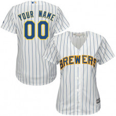 Women's Custom Milwaukee Brewers Replica White Alternate Cool Base Jersey