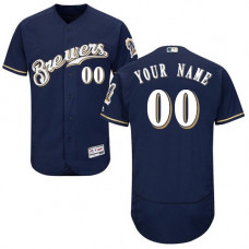 Custom Milwaukee Brewers Navy Blue Flexbase Authentic Collection Jersey