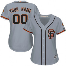 Women's Custom San Francisco Giants Replica Grey Road 2 Cool Base Jersey