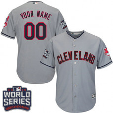Youth Custom Cleveland Indians Authentic Grey Road 2016 World Series Bound Cool Base Jersey