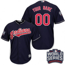Youth Custom Cleveland Indians Authentic Navy Blue Alternate 1 2016 World Series Bound Cool Base Jersey