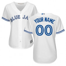 Women's Custom Toronto Blue Jays Replica White Home Jersey