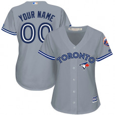 Women's Custom Toronto Blue Jays Replica Grey Road Jersey
