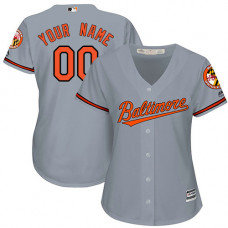 Women's Custom Baltimore Orioles Replica Grey Road Cool Base Jersey