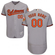 Custom Baltimore Orioles Grey Flexbase Authentic Collection Jersey