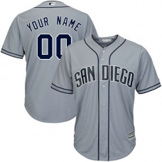 Custom San Diego Padres Replica Grey Road Cool Base Jersey