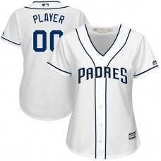 Women's Custom San Diego Padres Authentic White Home Cool Base Jersey