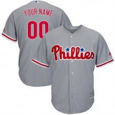 Youth Custom Philadelphia Phillies Replica Grey Road Cool Base Jersey