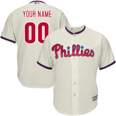 Youth Custom Philadelphia Phillies Authentic Cream Alternate Cool Base Jersey