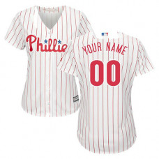 Women's Custom Philadelphia Phillies Authentic White/Red Strip Home Cool Base Jersey