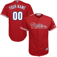 Youth Custom Philadelphia Phillies Replica Red Alternate Cool Base Jersey