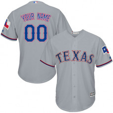 Custom Texas Rangers Authentic Grey Road Cool Base Jersey