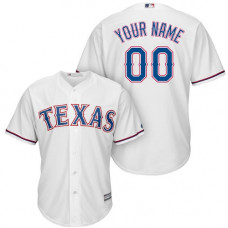 Youth Custom Texas Rangers Authentic White Home Cool Base Jersey