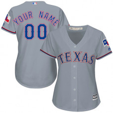Women's Custom Texas Rangers Authentic Grey Road Cool Base Jersey