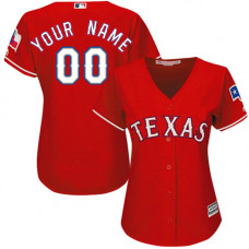 Women's Custom Texas Rangers Authentic Red Alternate Cool Base Jersey