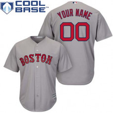 Custom Boston Red Sox Authentic Grey Road Cool Base Jersey