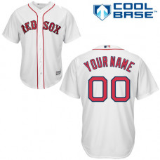 Youth Custom Boston Red Sox Replica White Home Cool Base Jersey