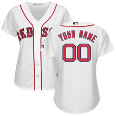 Women's Custom Boston Red Sox Authentic White Home Cool Base Jersey