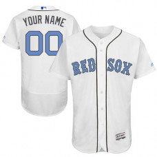 Custom Boston Red Sox Authentic White 2016 Father's Day Fashion Flex Base Jersey
