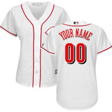 Women's Custom Cincinnati Reds Replica White Home Cool Base Jersey