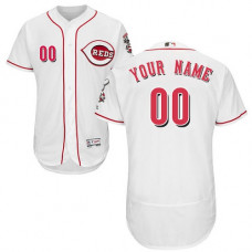 Custom Cincinnati Reds White Flexbase Authentic Collection Jersey