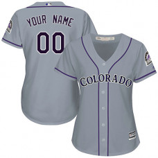 Women's Custom Colorado Rockies Replica Grey Road Cool Base Jersey