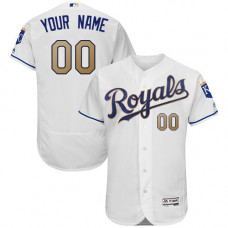 Custom Kansas City Royals White Home Flex Base Authentic Jersey
