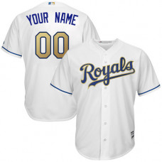 Youth Custom Kansas City Royals Replica White Home Cool Base Jersey