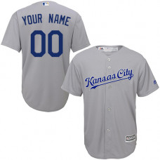 Youth Custom Kansas City Royals Replica Grey Road Cool Base Jersey