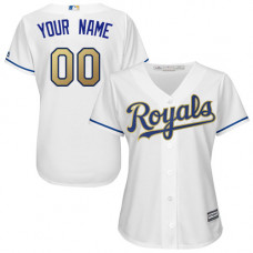 Women's Custom Kansas City Royals Authentic White Home Cool Base Jersey