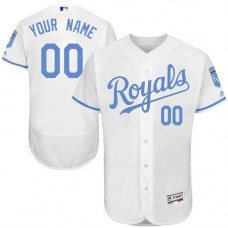 Custom Kansas City Royals Authentic White 2016 Father's Day Fashion Flex Base Jersey