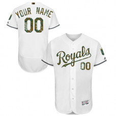 Custom Kansas City Royals Authentic White 2016 Memorial Day Fashion Flex Base Jersey