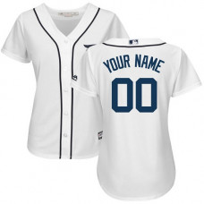Women's Custom Detroit Tigers Authentic White Home Cool Base Jersey