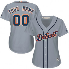 Women's Custom Detroit Tigers Authentic Grey Road Cool Base Jersey